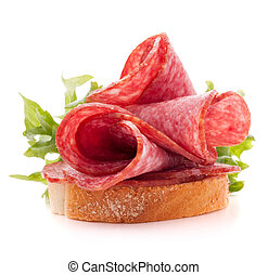 sandwich with salami sausage on white background cutout