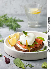 sandwich with salmon and egg