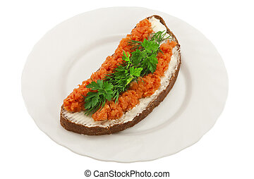 Sandwich with salmon on a plate