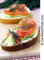 Sandwich with salmon