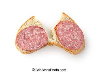Sandwich with sausage isolated