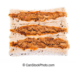 Sandwich with shredded pork on isolated on white background