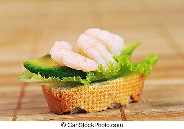 Sandwich with shrimps - Sandwich garnish with shrimps, ...