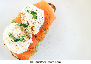 Sandwich with slightly salted salmon. Healthy food.