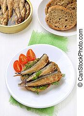 Sandwich with sprats