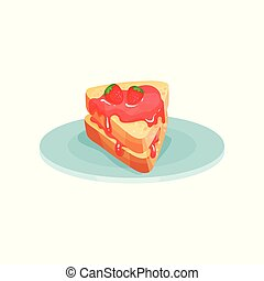 Sandwich with strawberry jam, food for breakfast vector Illustration on a white background