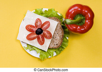 sandwich with vegetables on a white plate on a yellow background