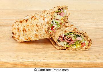 Sandwich wraps on a board