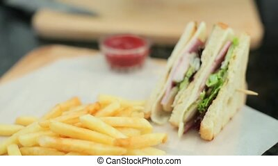 sandwiches and french fries closeup