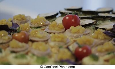 Sandwiches and Vegetable Snacks - Vegetable canapes,...