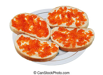 Sandwiches from white bread, butter and caviar