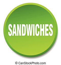sandwiches green round flat isolated push button