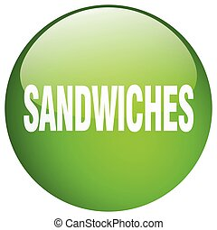 sandwiches green round gel isolated push button