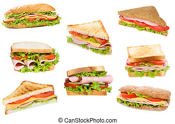 sandwiches, met, ham, en, groentes