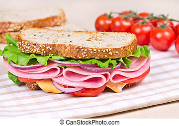 sandwiches  on a wooden board