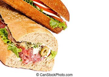 Sandwiches on white background