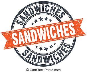 sandwiches round orange grungy vintage isolated stamp