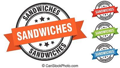 sandwiches stamp. round band sign set. label
