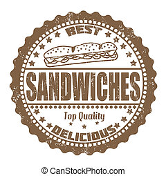 Sandwiches stamp - Sandwiches grunge rubber stamp on white,...