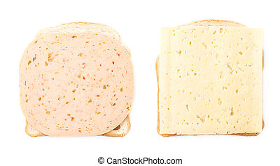 Sandwiches with cheese and ham over white isolated background
