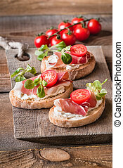 Sandwiches with cream cheese and ham