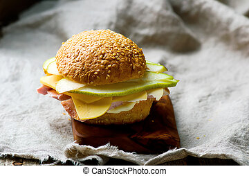 sandwiches with ham and cheese