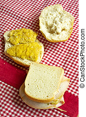 sandwiches with ham or cutlet