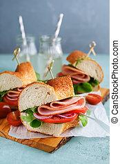 Sandwiches with ham