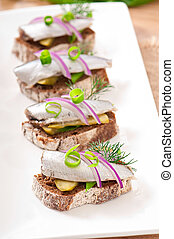 Sandwiches with herring