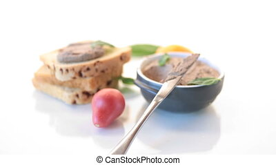 sandwiches with homemade chicken liver pate closeup isolated...