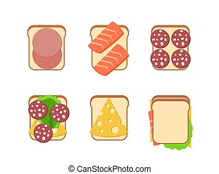 Sandwiches with ingredients
