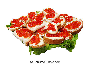 red caviar on a plate