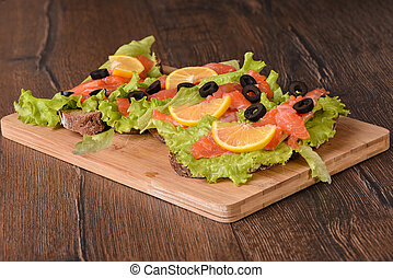 Sandwiches with red fish