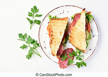 Sandwiches with salami, tomatoes, cucumber and lettuce on...