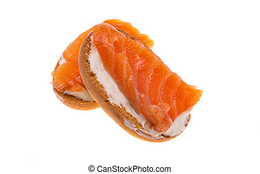 sandwiches with salmon fillet isolated