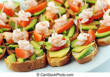 sandwiches with shrimps - sandwiches garnish with shrimps, ...