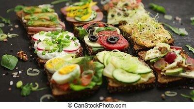 sandwicze, mąka, prospekt, górny, appetizer., jadło., zdrowy...