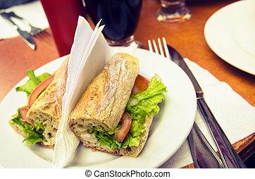 Sandwish On Table