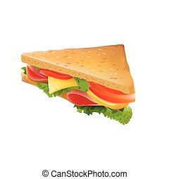 sandwitch, isolado, Ilustração, realístico, vetorial, fundo, branca