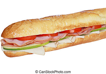 Sandwitch - Long french baguette loaf with ham and vegetable