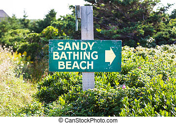 Sandy Bathing Beach Sign