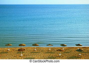 Sandy Beach and Blue Sea Water on the island of Zakynthos