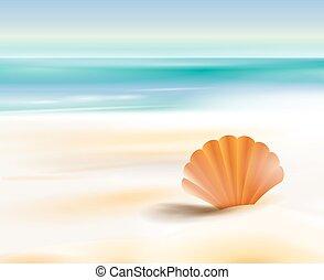 Sandy beach cost ocean - Sandy beach cost on a background of...