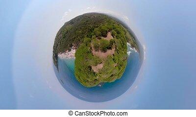 sandy beach in a tropical resort - little planet view sandy...
