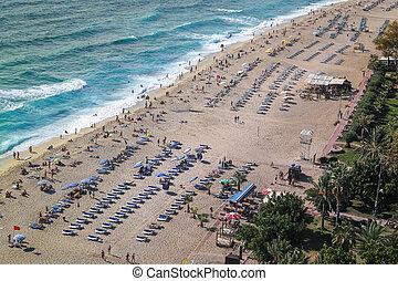 Sandy Beach in Alanya Town, Antalya, Turkey - Sandy Beach in...