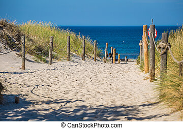 Sandy beach in Leba town, Baltic Sea, Poland