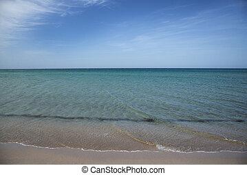 Sandy beach in Olenevka, Crimea