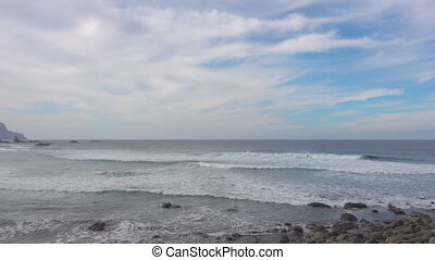 Sandy beach in Tenerife - Surf on a wide sandy beach of...