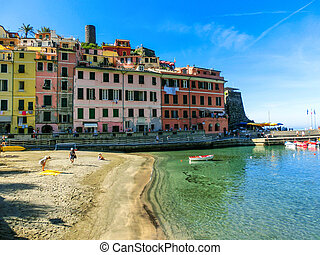 Sandy beach in Vernazza town, Cinque Terre National Park