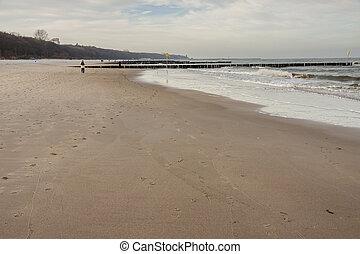 Sandy beach - Kolobrzeg, Poland.